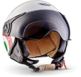 Moto Helmets H44 'Italy' · Jet-Helm · Motorrad-Helm Roller-Helm Scooter-Helm Bobber Mofa-Helm Chopper Retro Cruiser Vintage Pilot Biker Helmet · ECE Visier Schnellverschluss Tasche XL (61-62cm)