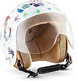 Soxon SK-55 'Color Hands' · Kinder-Jet-Helm · Kinder-Helm Motorrad-Helm Roller-Helm Kids Scooter-Helm Vespa Bobber Mofa-Helm Chopper Retro · ECE Visier Schnellverschluss SlimShell Tasche XS (51-52cm)