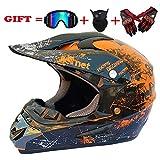 SK-LBB Sicherheit Erwachsene Kinder Off-Road Motorradhelm, MX-Motorrad D.O.T Zertifizierte Helm ATV Roller Road Racing Sport/Geschenkbrillen Handschuhe Maske (Orange, S)