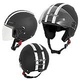 A-Pro Motorradhelm Motorrad Roller Offenes Jet Helm Viser ECE 22 05 Matt Schwarz M