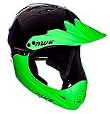 AWE gratis 5Jahr Crash Ersatz * BMX Full Face Helm schwarz grün, Größe M 54-58cm