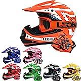 Leopard LEO-X17 Kinder Motocross MX Helm { Motorradhelm + Handschuhe + Brille} Orange M (51-52cm) ECE Genehmigt Crosshelm Kinderquad Off Road Enduro Sport