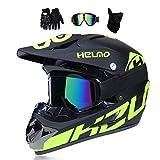 MRDEER Motocross Helm, Adult Off Road Helm mit Handschuhe Maske Brille, Unisex Motorradhelm Cross Helme Schutzhelm ATV Helm für Männer Damen Sicherheit Schutz, 5 Stile Verfügbar,A,S