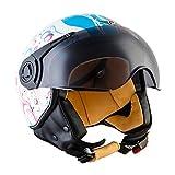 Moto Helmets H44 'Flower' · Jet-Helm · Motorrad-Helm Roller-Helm Scooter-Helm Bobber Mofa-Helm Chopper Retro Cruiser Vintage Pilot Biker Helmet · ECE Visier Schnellverschluss Tasche S (55-56cm)