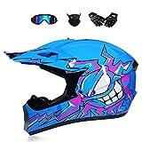 BMAQ Motocrosshelm für Kinder, Crosshelm Motocross Blau mit Brillen Handschuhe Maske, Full-Face MTB Helm für Quad ATV Enduro Motorrad Helm,M(56~57CM)