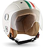 Soxon SK-55 'Imola' · Kinder-Jet-Helm · Kinder-Helm Motorrad-Helm Roller-Helm Kids Scooter-Helm Vespa Bobber Mofa-Helm Chopper Retro Pilot · ECE Visier Schnellverschluss SlimShell Tasche XS (51-52cm)