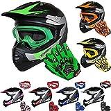 Leopard LEO-X19 Kinder Motocross MX Helm { Motorradhelm + Handschuhe + Brille} Grün M (51-52cm) ECE Genehmigt Crosshelm Kinderquad Off Road Enduro Sport