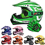 Leopard LEO-X17 Kinder Motocross MX Helm { Motorradhelm + Handschuhe + Brille} Grün M (51-52cm) ECE Genehmigt Crosshelm Kinderquad Off Road Enduro Sport