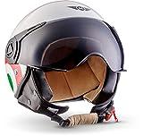"Moto Helmets H44 ""Italy"" · Jet-Helm · Motorrad-Helm Roller-Helm Scooter-Helm Bobber Mofa-Helm Chopper Retro Cruiser Vintage Pilot Biker Helmet · ECE Visier Schnellverschluss Tasche XL (61-62cm)"