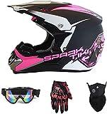 YXLM Motorradhelm für Kinder, Rosa, Crosshelm für Kinder, Downhill-Helm für Kinder, mit Goggle/Handschuhe/Maske, ECE und DOT-Zertifizierung, für BMX MTB Quad Enduro ATV Scooter (XL)