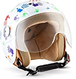 Soxon SK-55 Kinder-Jet-Helm, ECE Visier Schnellverschluss SlimShell Tasche, S (53-54cm), Fun Weiß