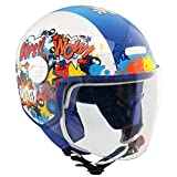 CGM Kinder Helm Demi-Jet-Helm mit langem Visier, 205G Magic Comics, Blau Weiß, YM (51-52cm)