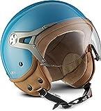 "SOXON® SP-325 Mono ""Crystal Blue"" · Jet-Helm · Motorrad-Helm Roller-Helm Scooter-Helm Moped Mofa-Helm Chopper Retro Vespa Vintage Pilot Biker · ECE 22.05 Visier Schnellverschluss Tasche S (55-56cm)"