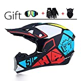 LEENY Herren Motocross-helme, Kinder Crosshelme Set mit Schutzbrille/Handschuhe/Maske, Motorradhelm Damen Full-Face Motorrad-Off-road-Helm Enduro Downhill-Helm Dirt Bike Quadhelm ATV-MTB-BMX-Helm,XL