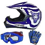 Leopard LEO-X17 Blau Kinder Motorrad Helm M(51-52cm) + Handschuhe M-6cm + Zorax Brille Kinder Motorradhelm Full Face MX Helmet Mädchen Jungen Dirt Bike