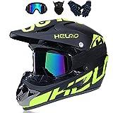 LALAGOU Motocross-Helm, Trageset, Motocross-Helm für Kinder, Integralhelm, für BMX MTB Quad Enduro ATV Scooter, mit Brillen, Handschuhen, Masken (XL (58 – 59 cm)