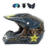 LALAGOU Motocross-Helm, BMX-Helm, Quad-Helm, für Kinder und Erwachsene, Fullface-Helm für Motocross, MTB, ATV, mit Schutzbrille, Handschuhen, Maske, verschiedene Farben (G, S (52–53cm))