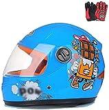 ZJRA Motocross-Helm Für Kinder, Motorradhelm Für Kinder, Jungen Und Mädchen, Cartoon-Stil Halbhelm, Sport Im Freien, Sonnenschild Für 3-8 Jahre Alt Kinder,Blau