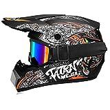 Fengcheng Motocross-Helm, Motorradhelm für Kinder, Motocross, Motocross, MX Helm für Erwachsene mit Brille, Motorradhelm Unisex (Schwarz, XL)