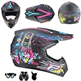JCLDG Motocross Helm Kids Pro Kinderhelm Crosshelm Schutzhelm Motorradhelm + Handschuhe + Brille + Schutzbrillen D.O.T Standard Kinder Quadhelm Kinder Cross BMX Helm ATV Go-Kart-Helm,M