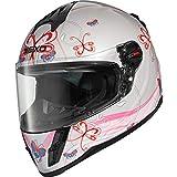 Nexo Integralhelm Motorradhelm Helm Motorrad Mopedhelm Junior III 2.0, Kinder-Motorradhelm für Mädchen, Gewicht: 1.190 g klares kratzfestes Visier Belüftung, Ratschenverschluss, Pink Dekor, L