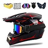 Fullface Motocross-Helm Dot Certified Erwachsene Offroad Helm Downhill für Kinder mit Brille, Handschuhe und Maske, Unisex (A,S)