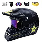 Motocross Helm Set mit Brille Handschuhe Maske Korallenvlies Handtuch Motorrad Netz, Jugend Sturzhelm Schutzhelm, Adult Downhill Helme Endurohelme Kinder Quad Bike ATV Go-Kart-Helm (B,M)