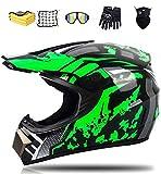 Motocross Helm Set, Fullface MTB Helm Kinder Cross Helm Motorradhelm, mit Brille Handschuhe Maske Korallenvlies Handtuch Motorrad Netz (S)