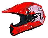 ATO-Helme Kids Pro Kinderhelm Crosshelm Schutzhelm Motorradhelm Quadhelm Kinder Cross BMX MX Helm (XS 51/52cm, Rot)