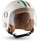 "Soxon SK-55 ""Imola"" · Kinder Jet-Helm · Motorrad-Helm Kinder-Helm Roller-Helm Kids Scooter-Helm Vespa Bobber Mofa-Helm Chopper Retro · ECE 22.05 Visier Schnellverschluss SlimShell Tasche XS (51-52cm)"