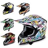 Hecht Motocrosshelm 51915 Motorrad-Helm Enduro ABS Quadhelm (S (55-56 cm), hellblau/rosa/gelb)