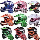Leopard LEO-X17 {Blau Kinder Motorrad Helm M(51-52cm) + Handschuhe M-6cm + Brille} Kinder Motorradhelm Full Face MX Helmet Mädchen Jungen Dirt Bike